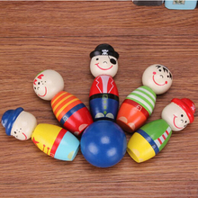1 Set Children Toys Wooden Bowling Ball Skittle Cartoon Funny Shape for Kids Children Game Toys CX992289(China)