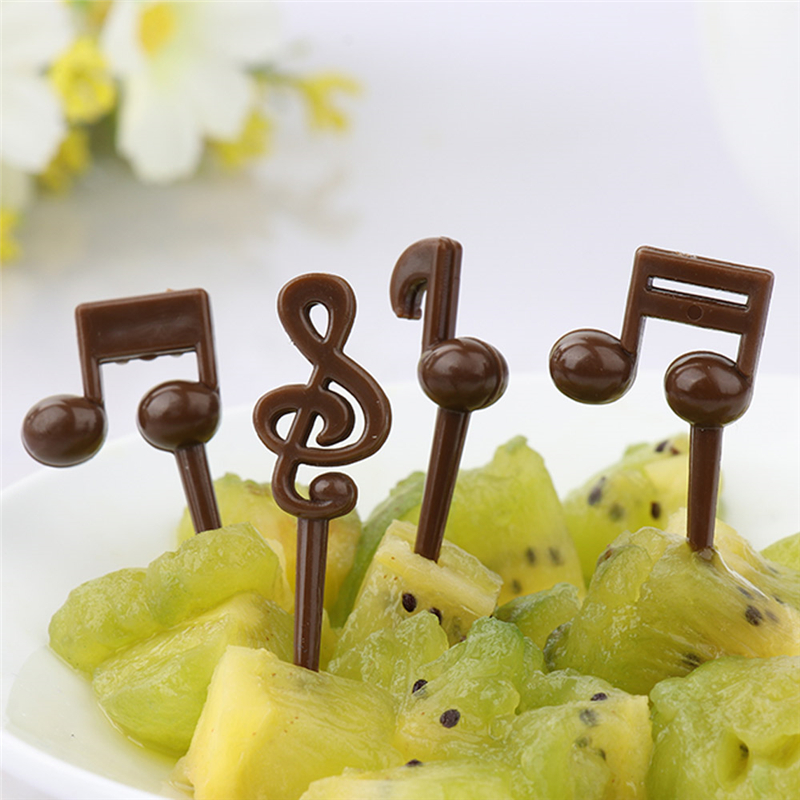 16pcs/pack Musical Note Shape Fruit Fork Mini Cartoon Children Snack Cake Dessert Food Fruit Pick Toothpick Bento Lunches Party gold metal duvar saati