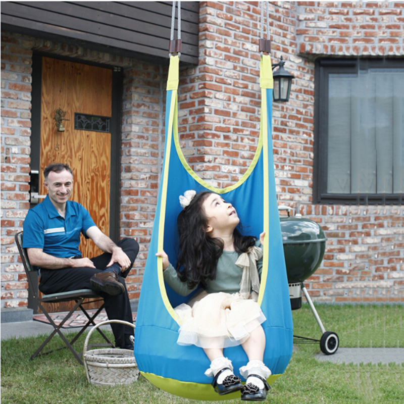 YONTREE 1 Pc Blue Baby Patio Swings Children Inflatable Hammock Outdoor Hanging Chair Pod Swing Free Shipping H1364Y1 garden swing for children baby inflatable hammock hanging swing chair kids indoor outdoor pod swing seat sets c036 free shipping