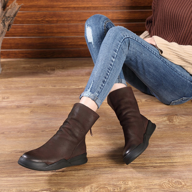 2018 Women Motorcycle Boots Genuine Leather Winter Shoes Women Handmade Black Leather Mid Calf Boots Women Low Heel Martin Boot qutaa national style winter women shoes genuine leather flat heel mid calf boot zipper women motorcycle snow boots size 34 40