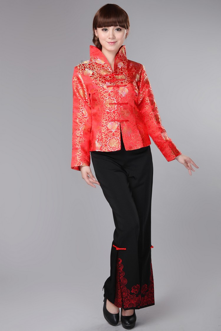 Red Chinese Traditional Coat Women's Silk Satin Jacket Size: S -3XL