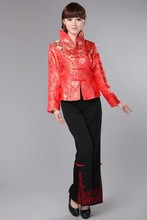 Red Chinese Traditional Coat Womens Silk Satin Jacket Size: S -3XL