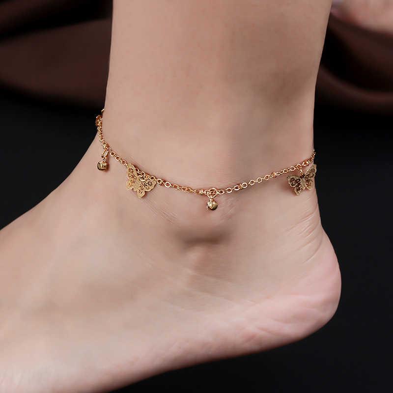 QCOOLJLY Bayan Gül Altın Renk kelebek Halhal Bilezik Moda ayak takısı Aksesuarları