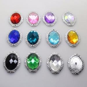5pcs 55*45MM Big Oval plastic Acrylic Button shiny Rhinestone Button very beautiful decorate wedding invitations buttons