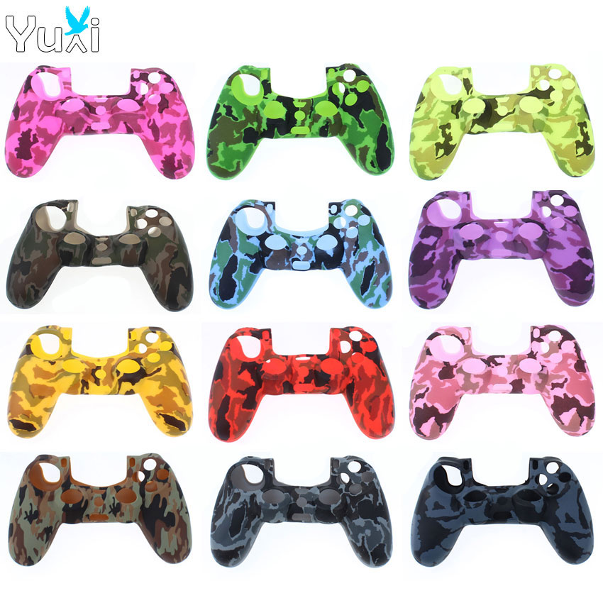 YuXi Soft Silicone Rubber Case Cover For Play Station Dualshock 4 PS4 DS4 Pro Slim Controller Skin + Joystick Stick Grips Caps