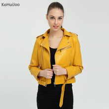 Spring Autumn Womens Leather Jackets and Coats Slim Turn Down Collar Female Short Pu Leather Coat