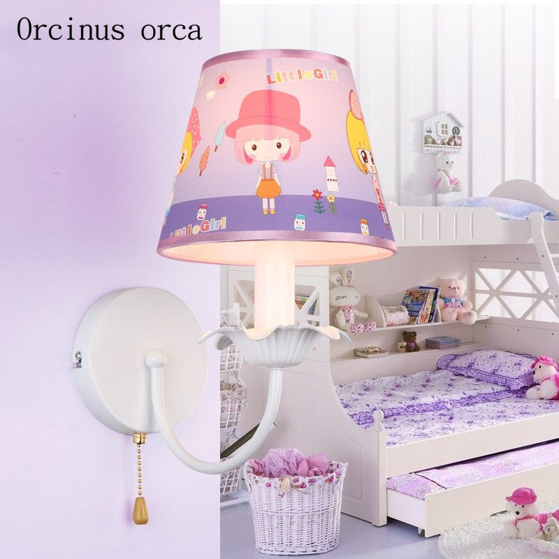 Pink cartoon wall lamp children room Girl Bedroom bedside lamp Princess House idyllic creative LED wall lamp free shipping