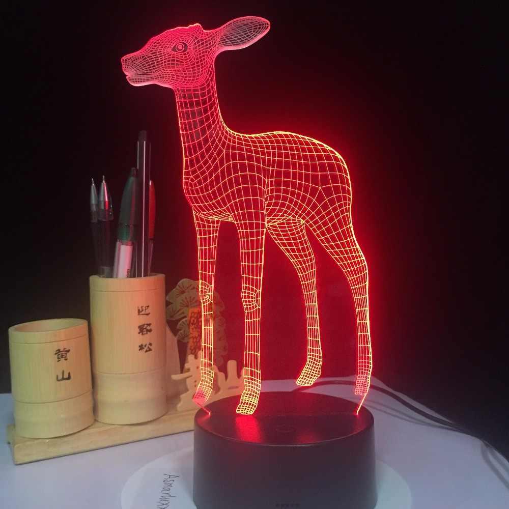 3D светодиодный свет лампы USB милый маленький олень 7 Красочные Night Light для Свадебный декор инновационные подарок на Новый год Подарки голограмма лампа