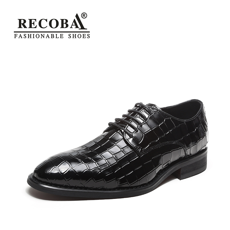 цена на Formal shoes men luxury brand red designer genuine cow patent leather wedding shoes oxfords derby dress shoes men zapatos hombre