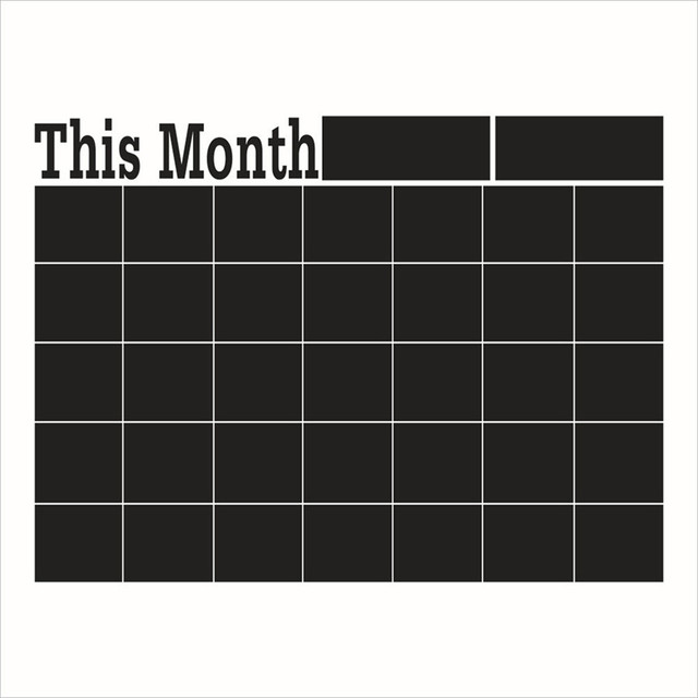 This Month Calendar Chalkboard Removable Planner Wall Stickers Black Board Office School Decals Wall Decor Drop Shipping 627#