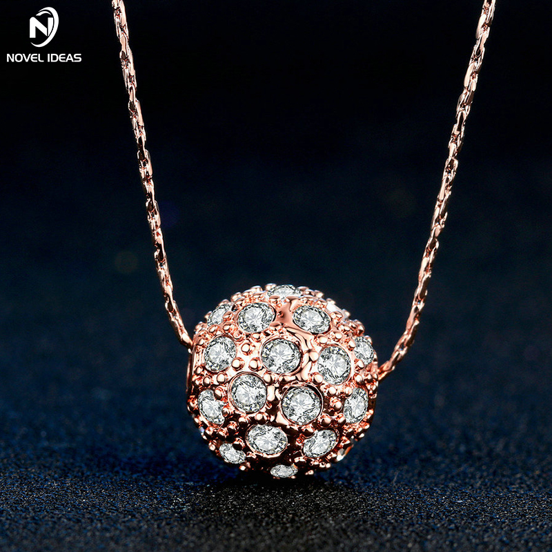 Novel ideas Lucky Beads Rose Gold Pated Charm Necklaces & Pendants Fashion Brand Jewelry For Women Crystal Snake Chain