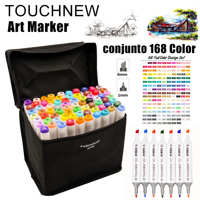 TOUCHNEW 168 Colors Artist Dual Head Art Sketch Markers Set For Manga Marker School Drawing Marker Pen Design Supplies for Kids sketch marker pen 218 colors dual head sketch markers set for school student drawing posters design art supplies