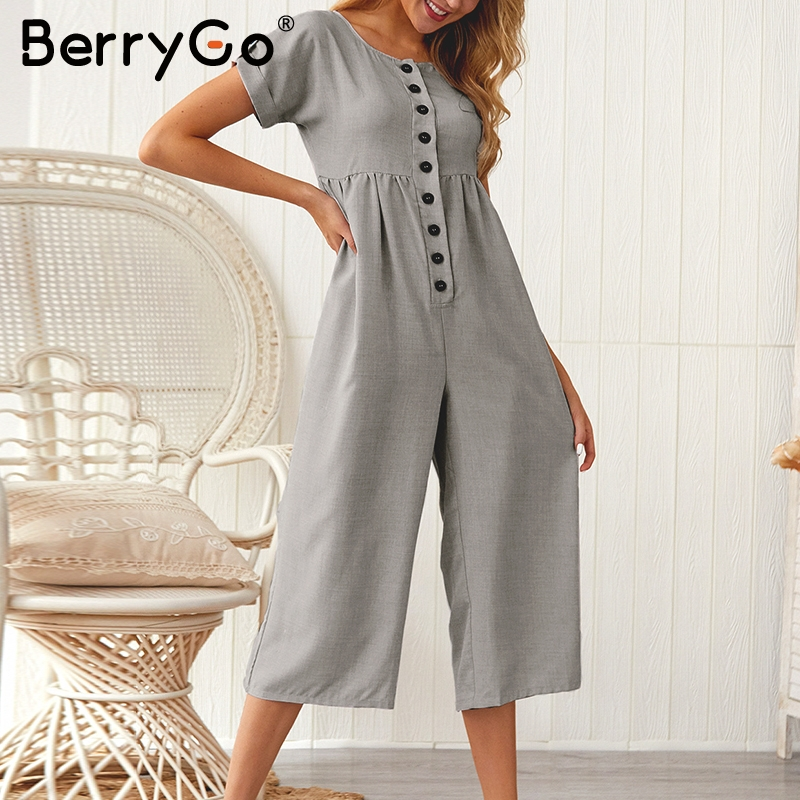 BerryGo Casual o-neck women   jumpsuit   Short sleeve buttons high waist summer   jumpsuit   female romper Office ladies loose overalls