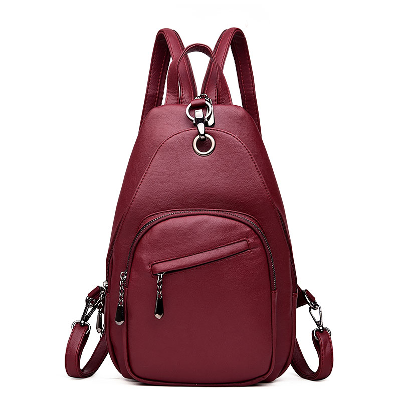 2018 Women Leather Backpacks Chest Vintage Back Pack Sac a Dos Female Designer Brand Backpack For Girls Dayback Ladies Bagpac