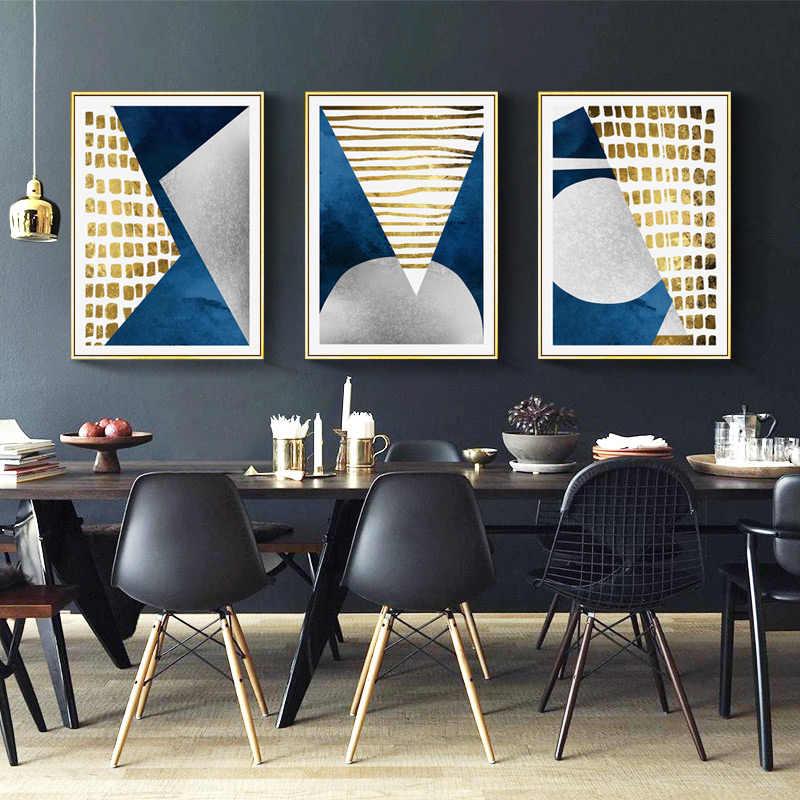 Modern Abstrak Biru Emas Bulan Lukisan Geometri Gunung Kanvas Poster Seni Dinding Gambar untuk Ruang Tamu Tanpa Bingkai