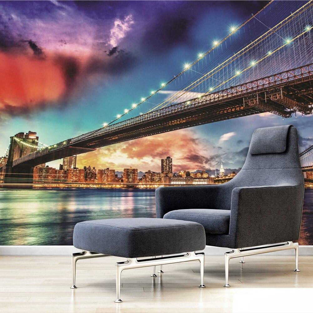 Skyline of downtown New York Manhattan Brooklyn Bridge ...