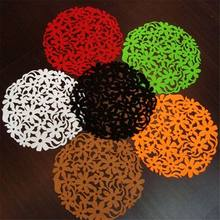 Tabletop plates Round Laser Cut Flower Felt Placemats Kitchen Dinner Table Cup Mats Cushion unusual cup holder coasterst(China)