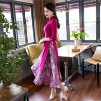 High quality Women modern ao dai vietnam dress long cheongsam style ladies high split qipao clothing floral XXXL