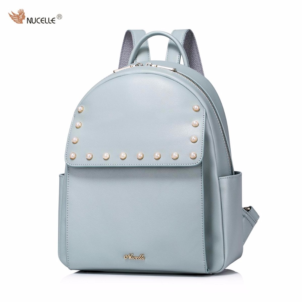 NUCELLE Brand New Design Fashion Pearls Beads High Quality PU Leather Casual Women Lady Backpacks Shoulders School Bag 03 blackened green