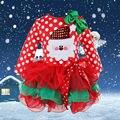 Kids Girl Christmas Dresses Baby Girls Kids Santa Long Sleeve Bow Fancy Tulle Tutu Dresses Girl Winter Outfit Dress