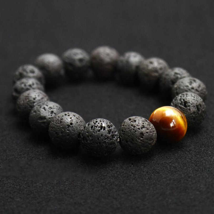 Hot Sell Fashion jewelry 12MM  Black Volcanic Lava Stone Tiger Eye Bead Charm Bracelet