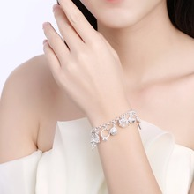 Women Jewelry 925 sterling silver 13 charms Cross Lock Key Heart Star Moon Flower Zircon bracelets bangles gift bag H144