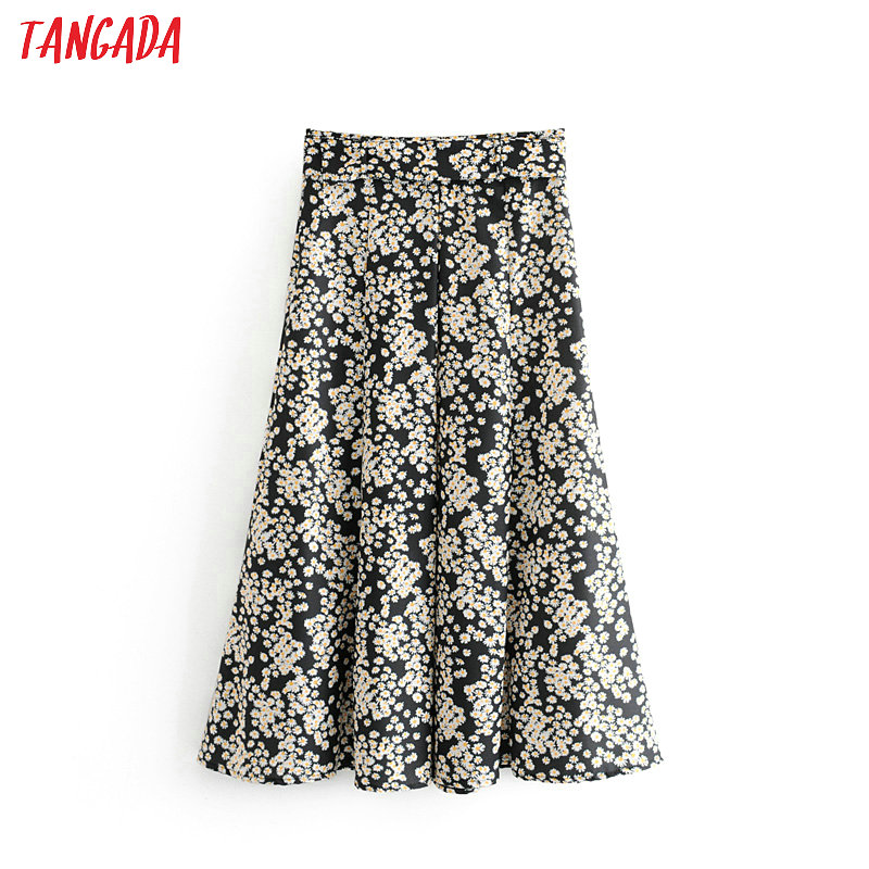 Tangada women flower black skirt sashes high waist ladies fashion beach wear pleated maxi skirts faldas mujer 6A239(China)