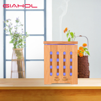 Ultrasonic Air Humidifier Essential Oil Diffuser Aroma Spray 200ml Wood Grain 7 Color Changing LED Lights for Office Home SPA