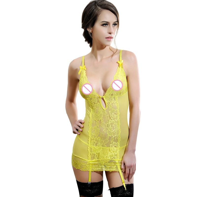 Hot Sleepwear Women Summer Nightwear Women Sexy Lace Chemise Nightgown Sleepwear Sleepshirt Nightdress Sleeveless Nightshirt