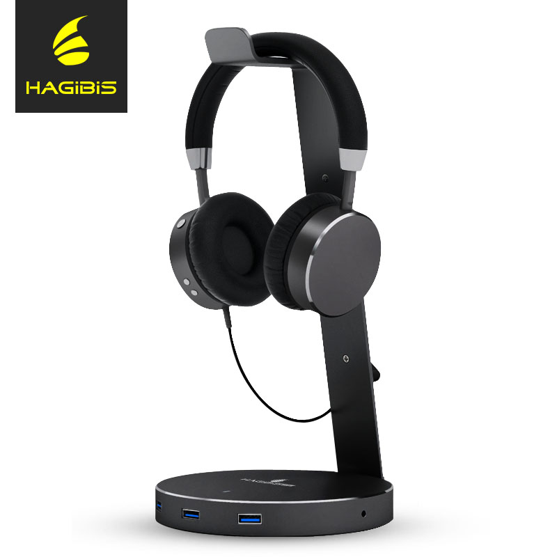Hagibis Headset Earphone Stand Holder With 3 Ports of 3.0 Usb Hub Display for Headphones bracket and Headphone Cable Storage