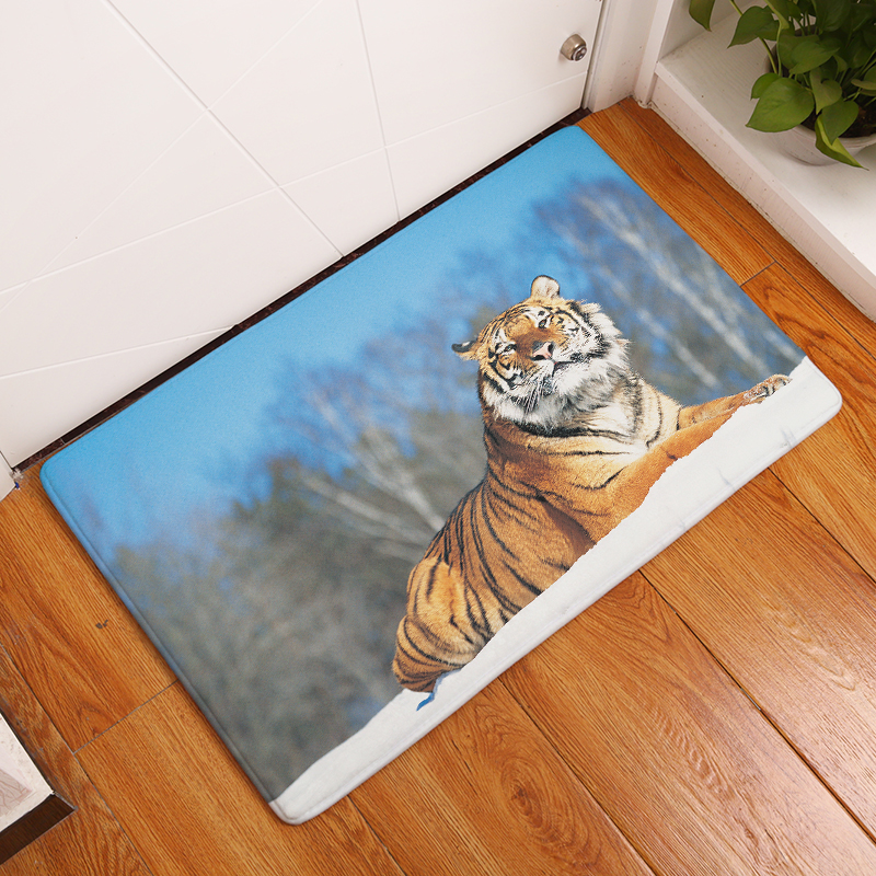 Cartoon Flannel Carpet Tiger Printing Mat For Living Room 40x60cm 50X80cm Door mat Rectangle Tapete