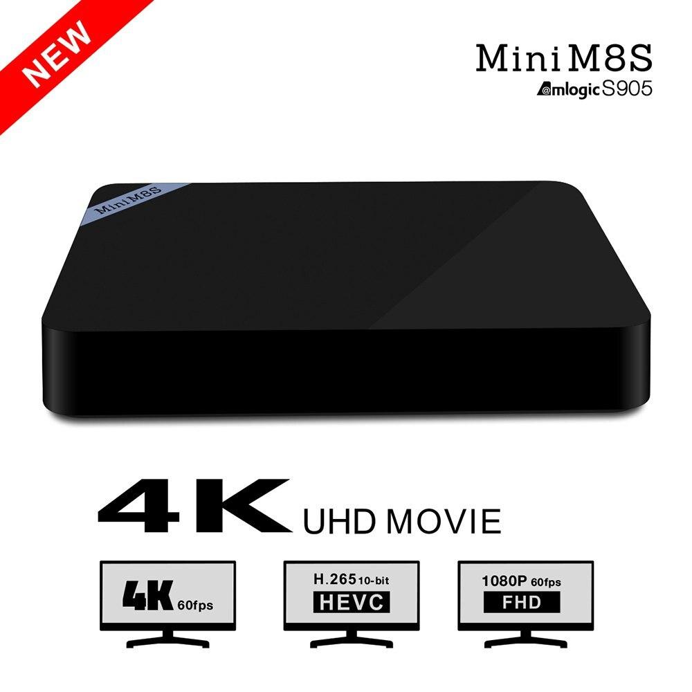 Mini M8S TV Box Set Top Box Amlogic S905 Android 5.1 Quad Core WiFi Bluetooth4.0 2GB RAM 8GB Smart Media Player With EU/US Plug smart android 4 2 tv box quad core network media player 8gb ram 2gb ddr3 with wifi support google tv dlan miracast