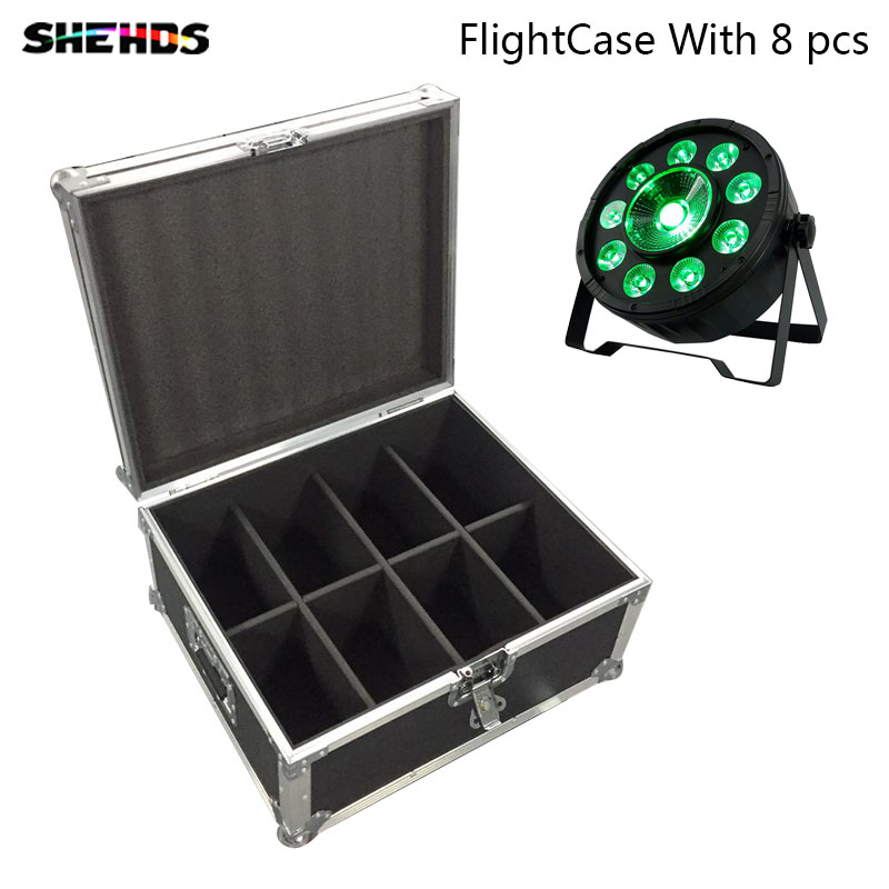 FlightCase with 8 pieces LED Flat Par 9x10W+30W RGB LED Light for Disco KTV Party 7channels Fast Shipping,SHEHDS Stage Lighting цены
