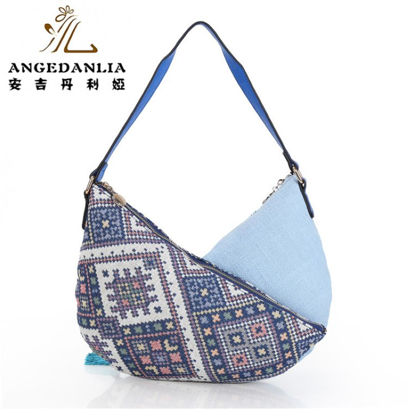 9f9f1838b9e0 women blue Bohemian style vintage handbags ladies fancy bags canvas  shoulder bag Boho Cotton Fabric Bag national ethnic bags -in Shoulder Bags  from Luggage ...