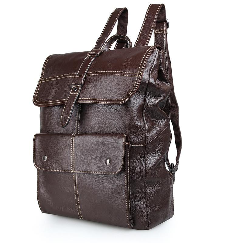 Luxury Brand Designer Natural Genuine Leather Mens Backpacks Black Coffee Vintage Cowhide Men Travel Bags Laptop Backpack J7335