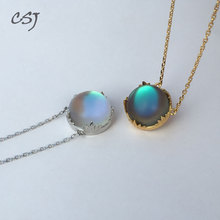 CSJ Aurora Necklace Sterling 925 Silver Halo Crystal Pendant for Woman Femme Lady Girl Party Elegant Fine Jewelry Gift