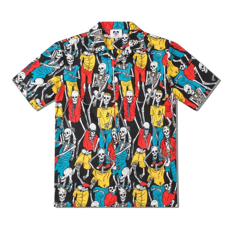 EU SIZE Men Hawaiian Shirt With Skull Print Funny Summer Blouse Rayon Button Up Beach Party Aloha Shirts 3D Full Printing Bones