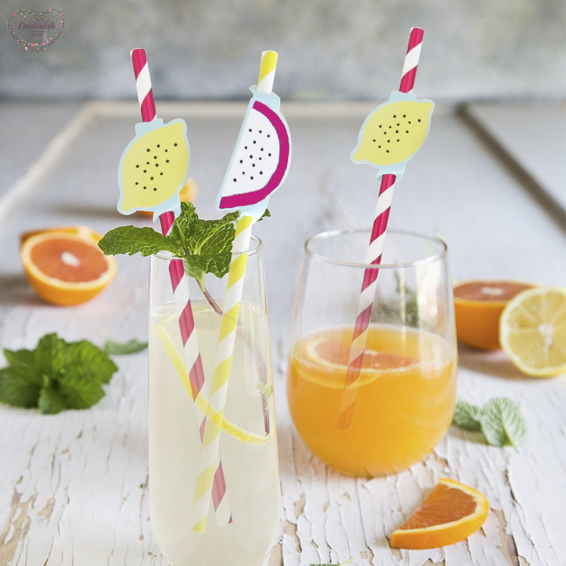 10Pcs/set Fruit Design Straws Birthday Party Decorations Kids Disposable Paper Straws Wedding/Summer Party/Beach Pool Supplies