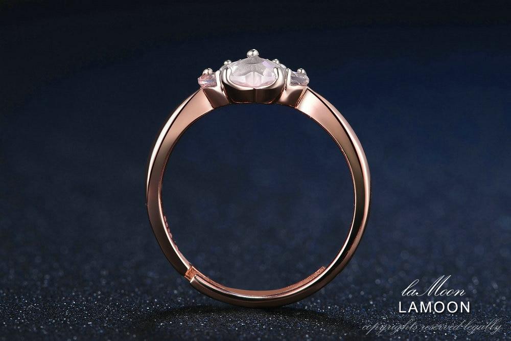 HTB1HIzAmaagSKJjy0Fbq6y.mVXam LAMOON 925 Sterling Silver Ring For Women Bear Paw Rose Quartz Gemstone 18K Rose Gold Adjustable Ring Fine Jewelry RI027-2