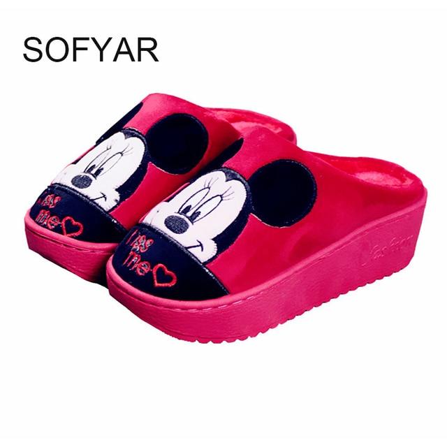 Musim dingin anti slip tumit tinggi dengan tebal kapas sandal terbuka sandal berbulu indah animal prints manis lucu sepatu sandal jauhkan hangat
