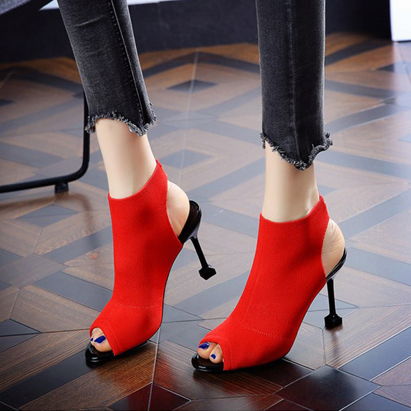Heel Sandals Party-Shoes Knitting Wedding Female Summer Ladies New 8cm L04 Pretty Girls