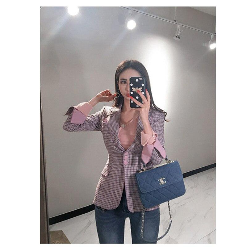 Mode 2018 Costume Automne Pink Veste Deux Plaid Hiver Coréenne Patchwork Nouvelle De Cwbshowgg Version Professionnel Pantalon Et Femmes Pièces Aqd4AH7