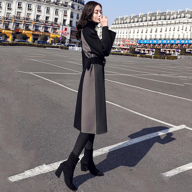 Col Femelle down Avec Mélange De Ceintures Femmes Hiver Laine Occasionnel Mince Pardessus Bloc Manteaux V495 Automne Turn Survêtement Couleur Des x7pwO047q