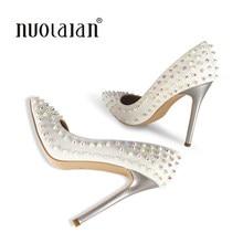 2018 marca moda mujeres Zapatos Stilettos sexy boda Zapatos 12 cm rivert Tacones  altos partido punta estrecha mujeres Bombas b268269921ee
