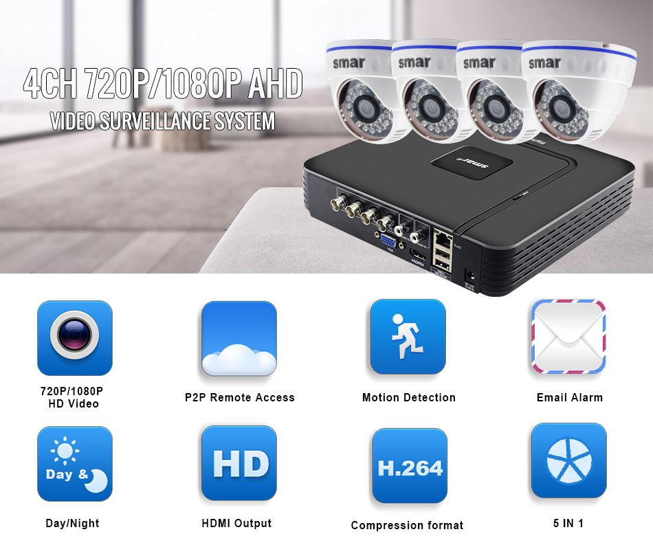 Smar CCTV System 4PCS 720P1080P AHD Camera Option Mini DVR For 4CH CCTV Kit HDMI 1MP 2MP IndoorOutdoor Security System (1)