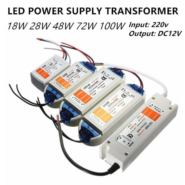 Transformateur led led dalimentation, pilote led 12v, 5W 18w 28w 48w 72w 100w pour bande led mr16 mr11