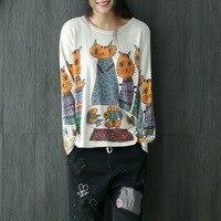 Women Cat Printed Loose Tee shirts Ladies Cartoon Cute Print Pullovers Tops Tees Female Casual T Shirt T shirt Spring Autumn