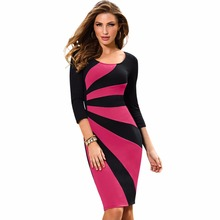 Women Elegant O-Neck Three Quarter Sleeves For Summer Or Autumn Business Work Patchwork Sheath Pencil Dress EB390