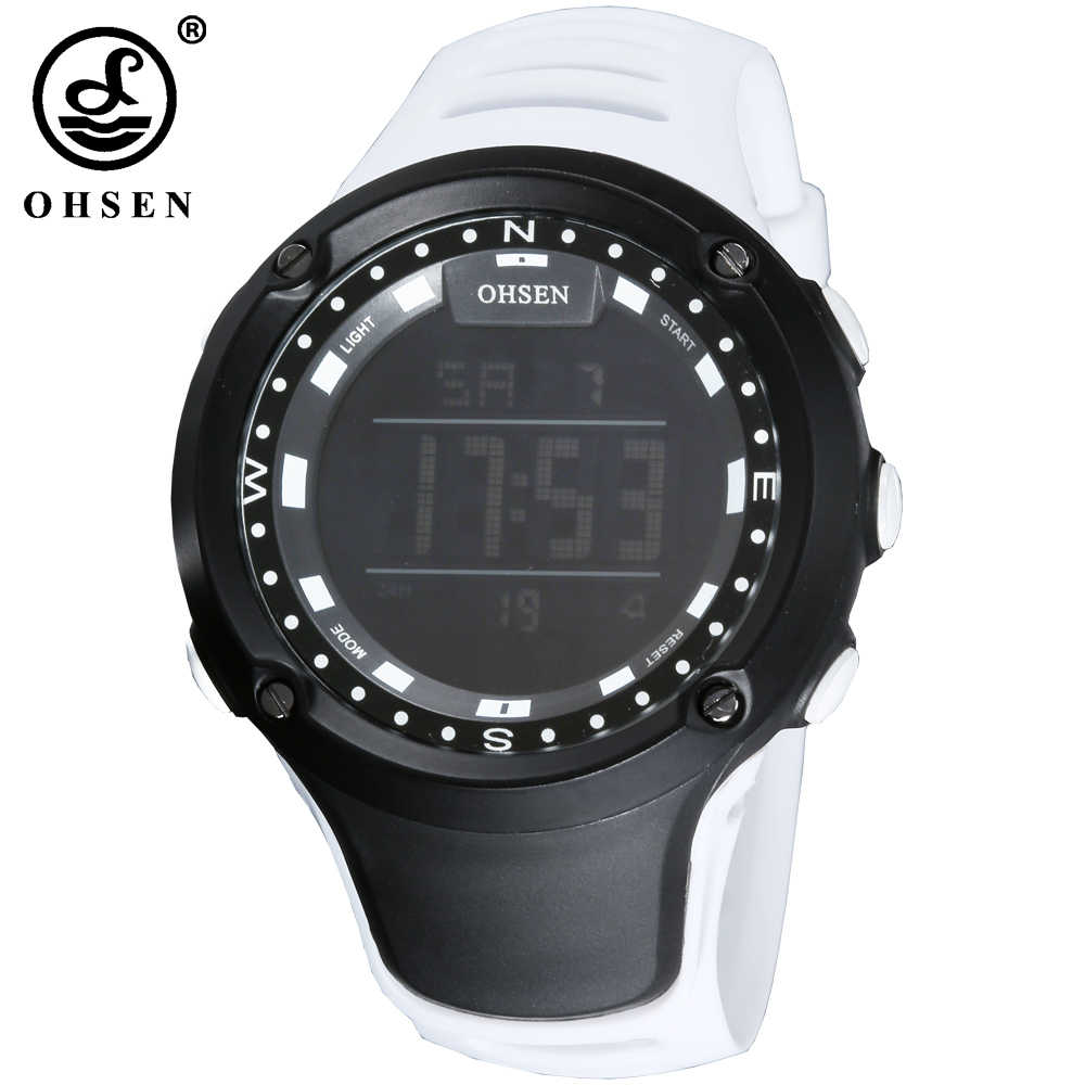 OHSEN Fashion LCD Digital Electronic Mens Wristwatch 50M Waterproof White Sports Military Hand male Clocks relogio masculino