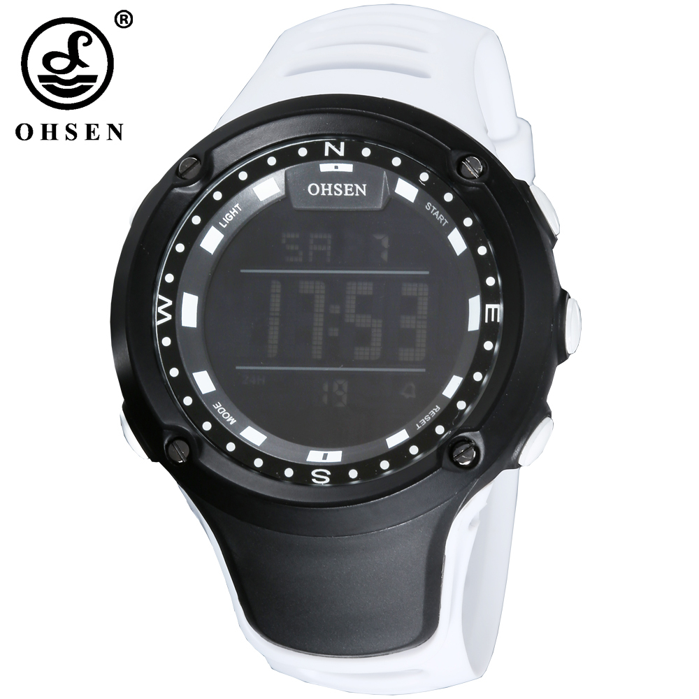 83e8b26081b Online Shop OHSEN Fashion LCD Digital Electronic Mens Wristwatch 50M  Waterproof White Sports Military Hand male Clocks relogio masculino